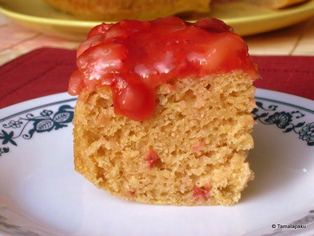 Fat Free Eggless Strawberry Snack Cake
