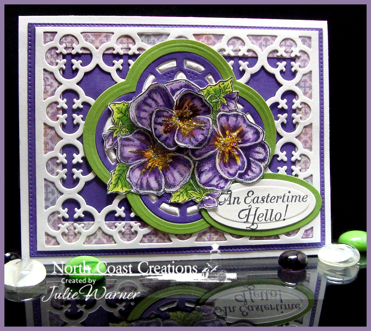 Stamps - North Coast Creations Pansies, ODBD Custom Flourished Star Pattern Die, ODBD Custom Quatrefoil Pattern Die, ODBD Custom Quatrefoil Design Dies, ODBD Christian Faith Paper Collection