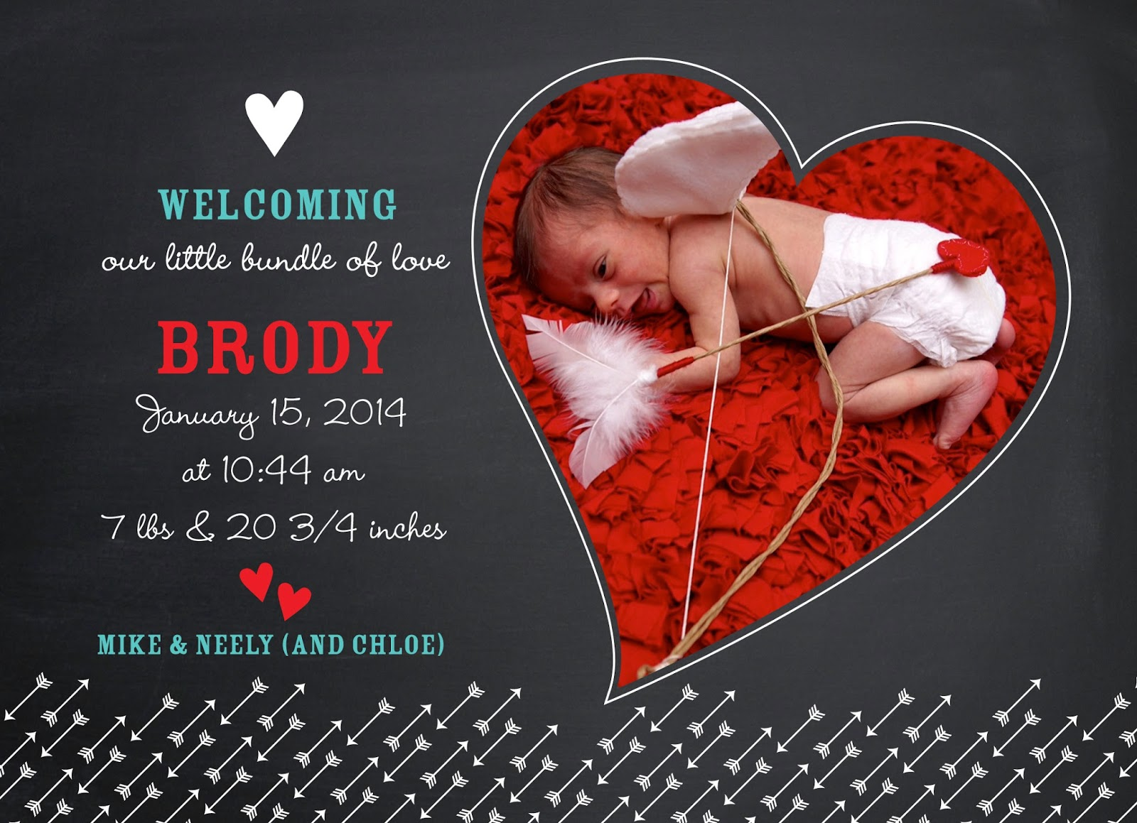 SimpleFancyFun – Valentine Birth Announcement