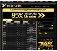 Guadagna online con il Trading e le Opzioni Binarie con un rendimento dell' 85%! Prova subito 24Option!