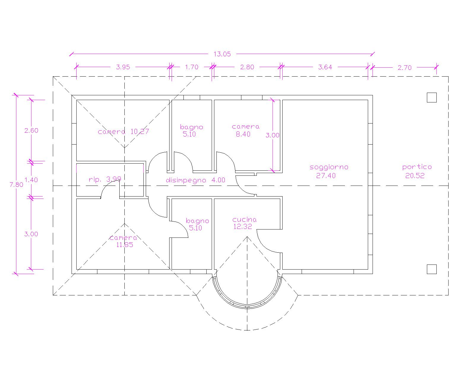 Progetti di case in legno casa blockhaus 102 mq portico for Progetti di portico in mattoni per case
