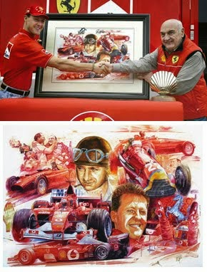 Michael Schumacher receiving a painting by Jorge Garcia