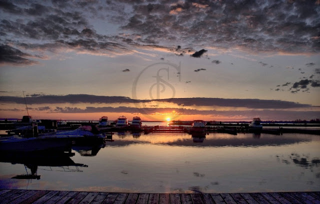 a beautiful sunrise over the harbour, Port of Orillia