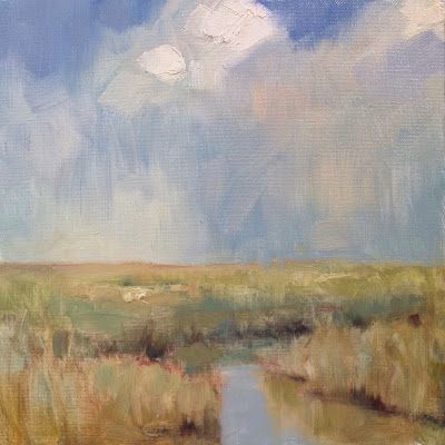 Oil landscape painting of a Cape Cod Marsh under a stormy sky by artist Steve Allrich