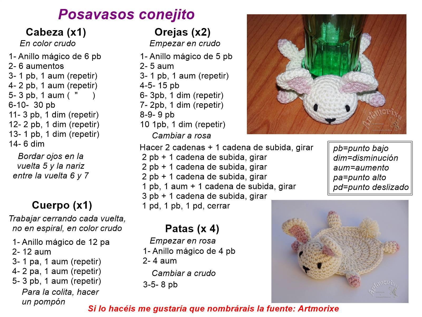 Artmorixe - Labores y manualidades: Posavasos a crochet (con patrón ...