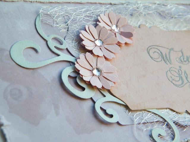 pastelowa kartka ślubna sizzix framelites fancy tags, dziurkacz stokrotka, sizzix ornament Galeria Schaffar2