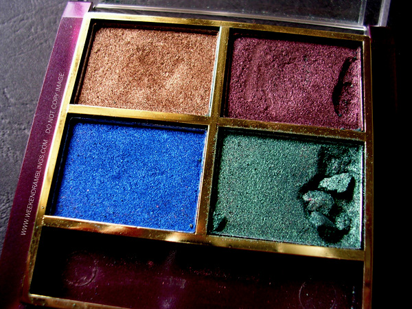 Indian Makeup Lakme Eye Shadow Colours Quad Quartet Peacock Beauty Blog Reviews Swatches EOTD