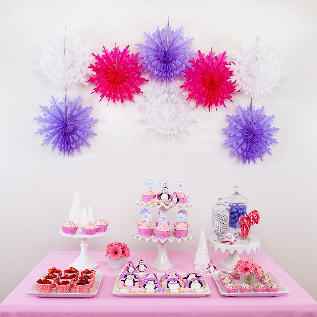 Pink and purple penguin party glorious treats