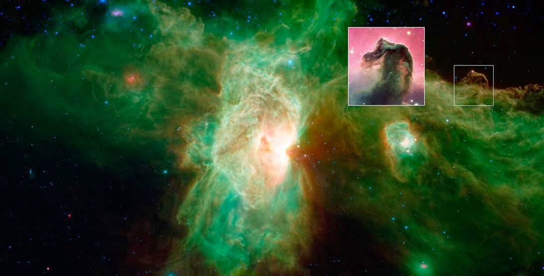 The famous Horsehead nebula of visible-light images (inset) looks quite different when viewed in infrared light, as seen in this newly released image from NASA's Spitzer Space Telescope. Image Credit: NASA/JPL-Caltech/ESO