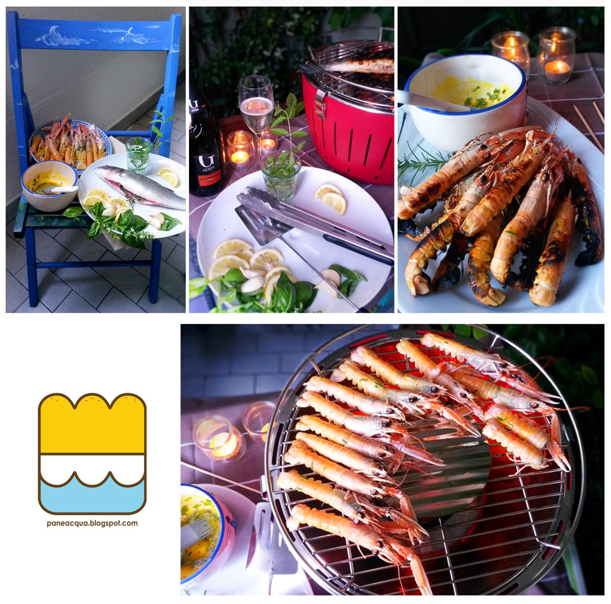 profumi d'estate con una griglia di pesce,  tramezzini e torta di ciliege e papaya