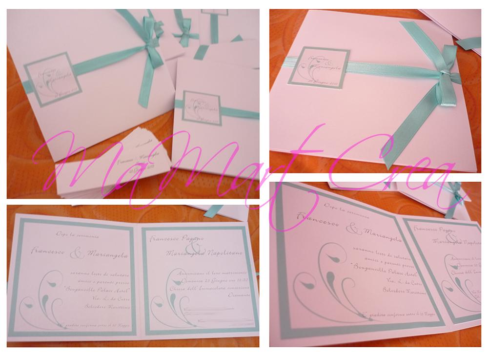 Partecipazioni Matrimonio Azzurro Tiffany : Mamartcrea partecipazioni matrimonio in verde tiffany