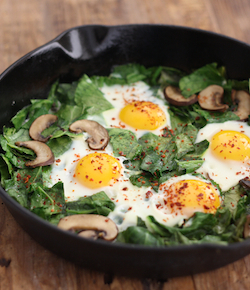 Skillet collard greens with mushrooms and eggs recipe