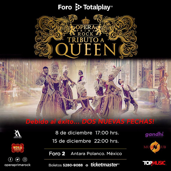 OPERA PRIMA ROCK 8 DE DICIEMBRE 17HRS. FORO 2 TOTAL PLAY ANTARA www.ticketmaster.com.mx