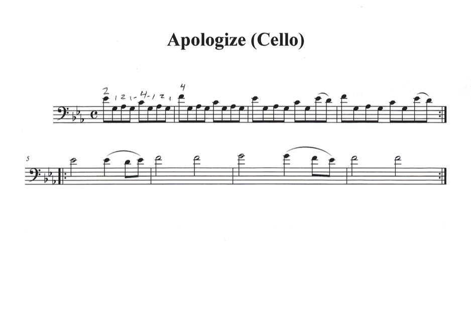 secrets onerepublic cello sheet music