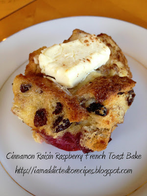 Cinnamon Raisin Raspberry French Toast Bake | Addicted to Recipes