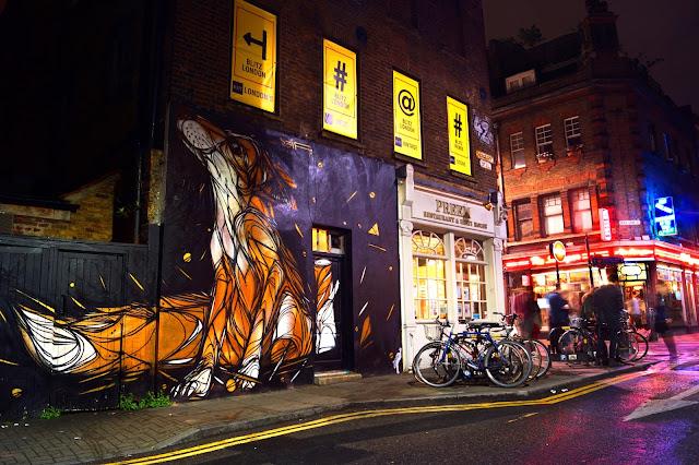 graffiti, street art, east london, brick lane, urban, long exposure, fox, neon