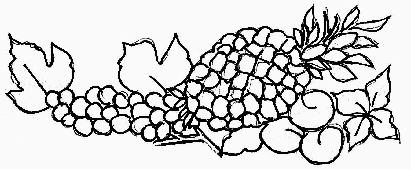 desenho de abacaxi com cerejas e uvas para pintar