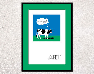 framed pop art cow with art made from a upc code