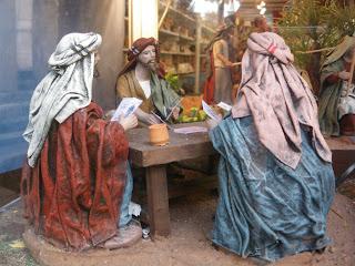 Jugadores de cartas en la XVIII Feria del Belén de Sevilla