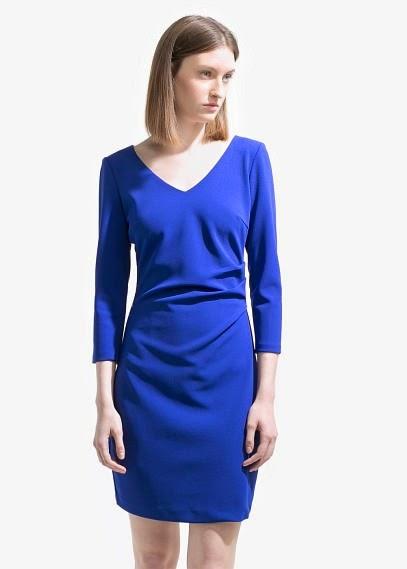 Mango 2015 Elbise Modelleri  mavi renk klasik kesim geniş yakalı kısa elbise, ofis ve günlük elbise