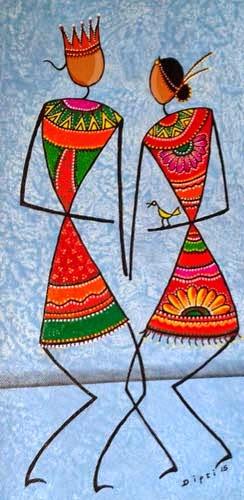 Contemporary stylized-Warli Paintings by Dipti Nikam at Pradarshak