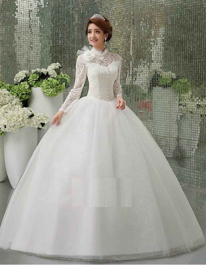 Duchess Fashion: Bridal Gowns: Lace Long Sleeve High Neck Bridal Dress