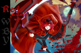 Ruby Rose RWBY Anime Death Scythe Red Cape Girl HD Wallpaper Desktop PC Background 1672