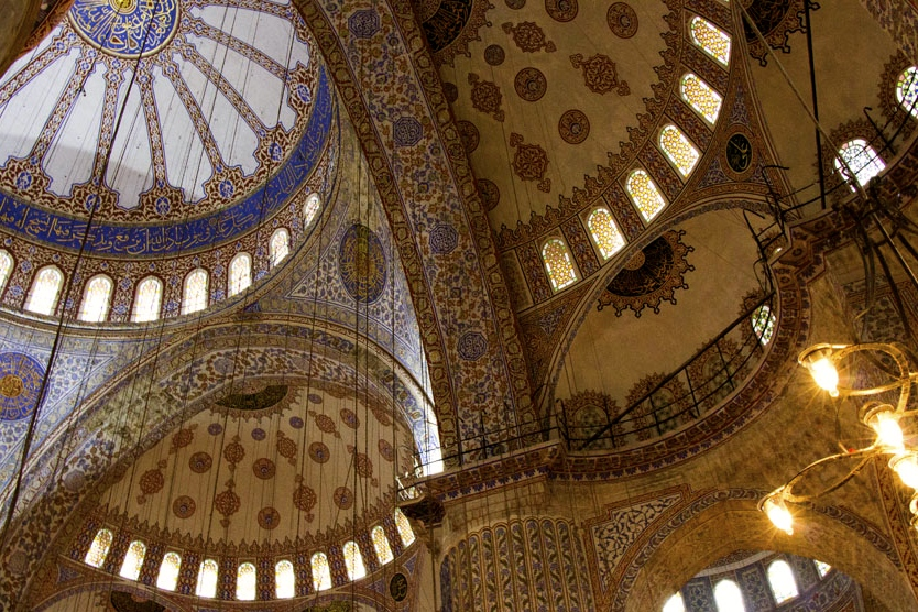 Mosaic roof of the Blue Mosque in Istanbul