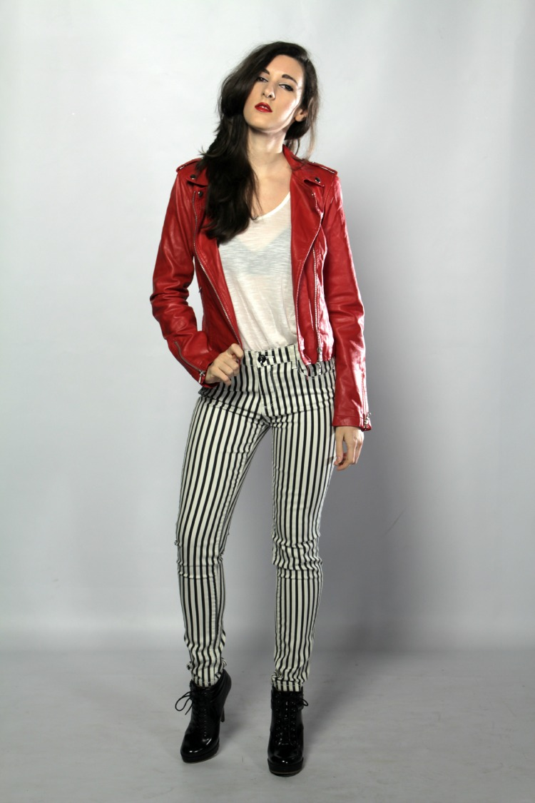 Red Leather Jacket and Striped pants