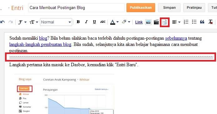 """Coretan Anak Kampoeng: Cara Membuat """"Read more"""" atau """"Baca"""