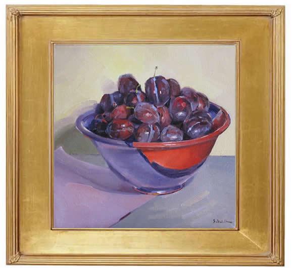 Sedwick Studio Purple Bowl Of Plums Fruit Bowl Still