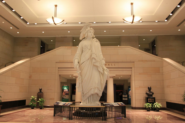 Statue of Freedom on the ground floor of the Visitor Center in United States Capitol in Washington DC, USA