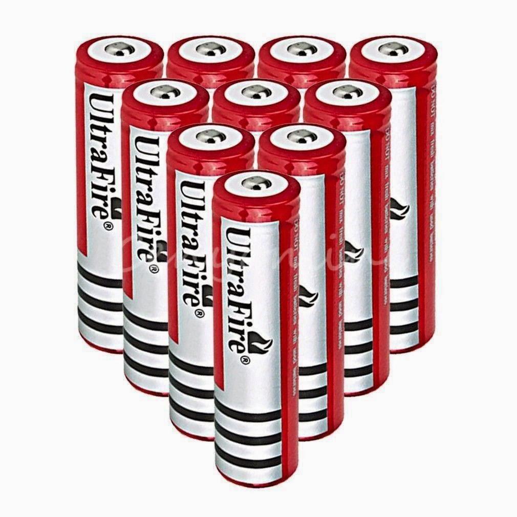 10Pcs 18650 3.7V UltraFire 3000mAh Li-ion Rechargeable Battery for Led Torch