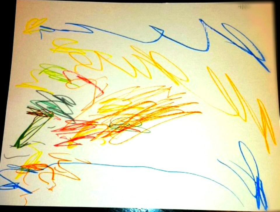 childs first drawing, children and art supplies, giving toddlers access to pens and art
