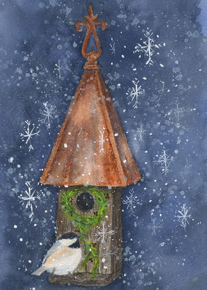 "The final version of ""Chiggy Decks the Halls,"" an original watercolor and gouache mixed-media painting by Kelly Riccetti."