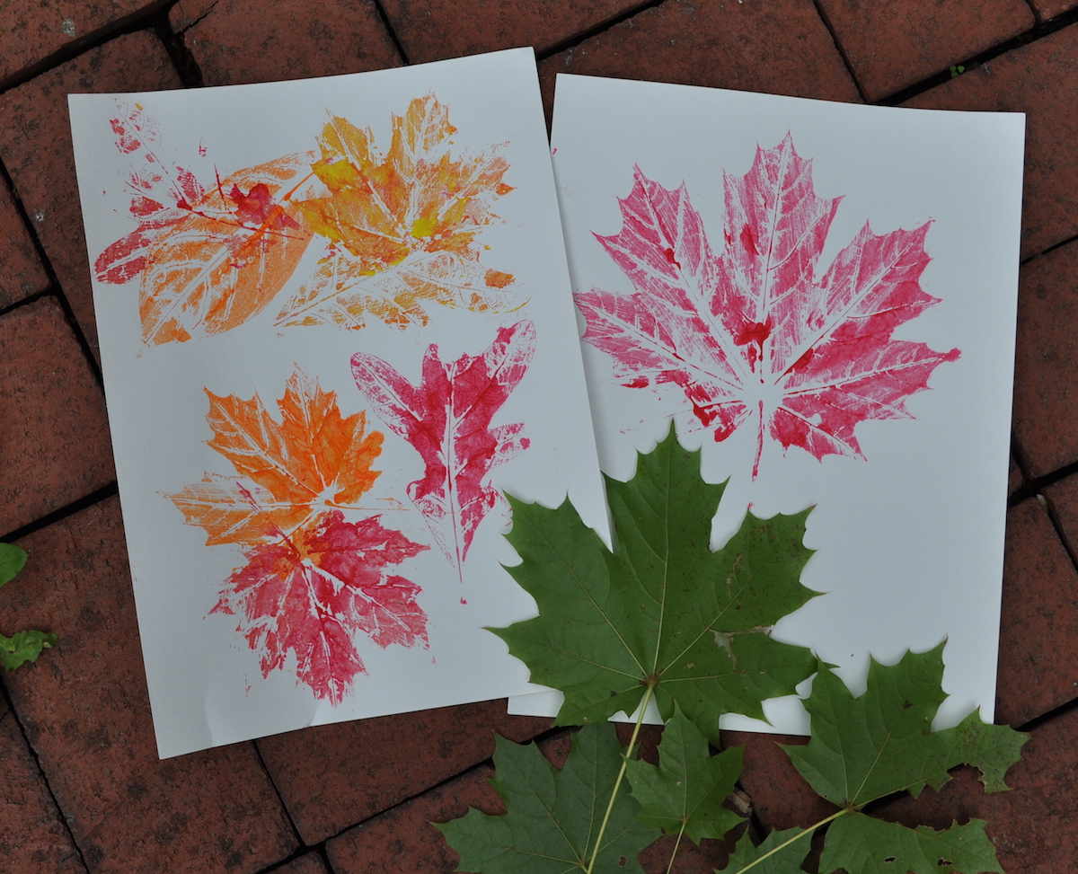 we printed leaves yesterday in my after school art class the children simply spread tempera paint with a sponge brush on the back of the leaf