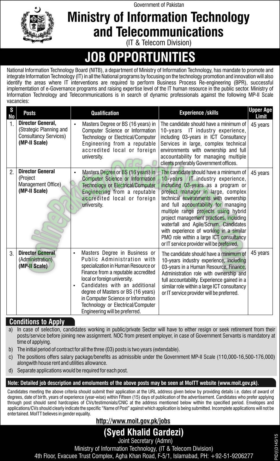 Ministry of Information Technology And Telecommunications latest jobs