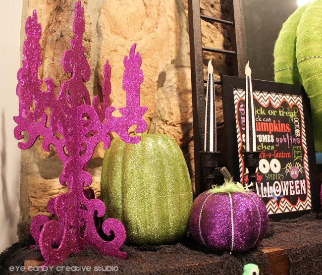 candlelabra, glam pumpkins, subway art, halloween mantel decor