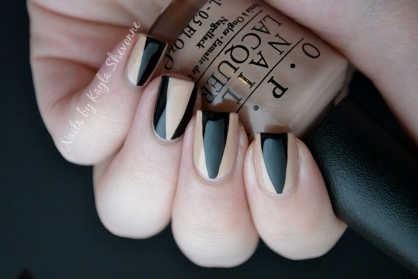 Nails by kayla shevonne nude black deep v nail art so ill definitely be trying it out with some different colour combinations in the future im thinking of even doing a gradient in the deep v section prinsesfo Images
