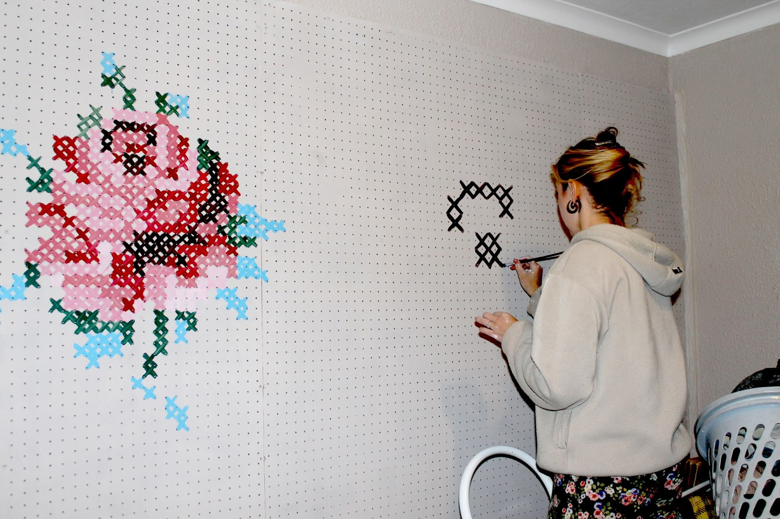 The bl g it list diy for Cross stitch wall mural