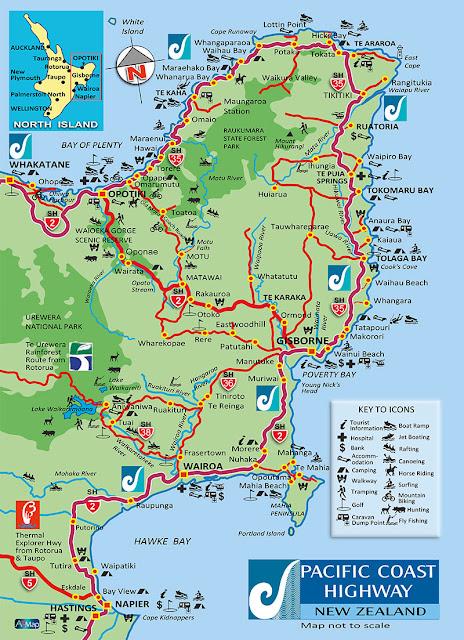 Mapa da região de Gisborne - Nova Zelândia