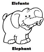 Imagenes de Animales en ingles y español . Imagenes para dibujar . Dibujos . (elefante elephant colorear)