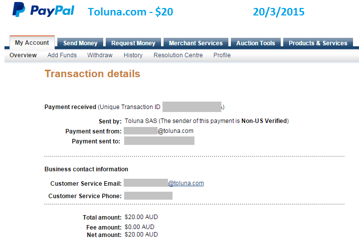 Paypal payment for $20 from Toluna for online surveys.