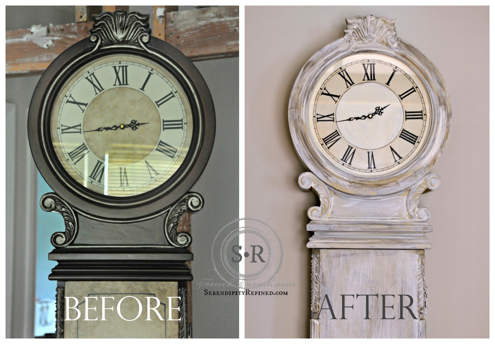 Serendipity Refined Blog Rustic French Country Milk Chalk Paint Grandfathers Clock Makeover