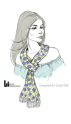 illustration of a pretty fashion model with a scarf