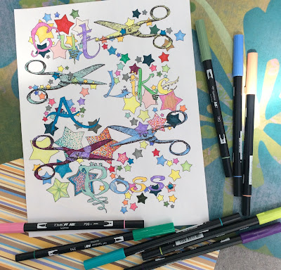 Cut like a boss adult coloring page stefanie girard, Tombow markers