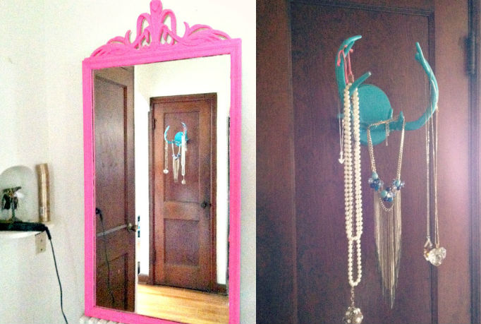 neon pink baroque frame // old telephone nook as straightener holder