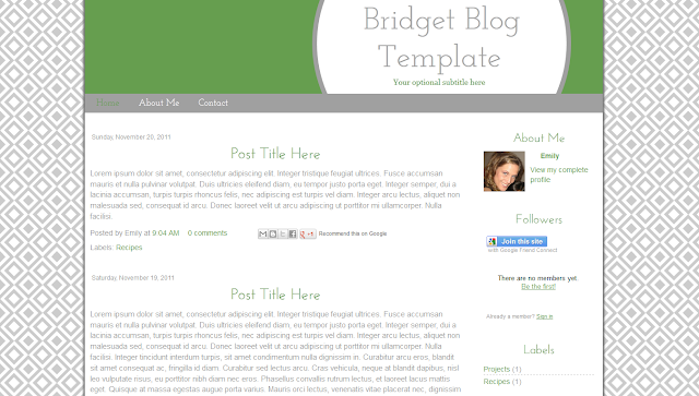 grey and green premade blogger template free