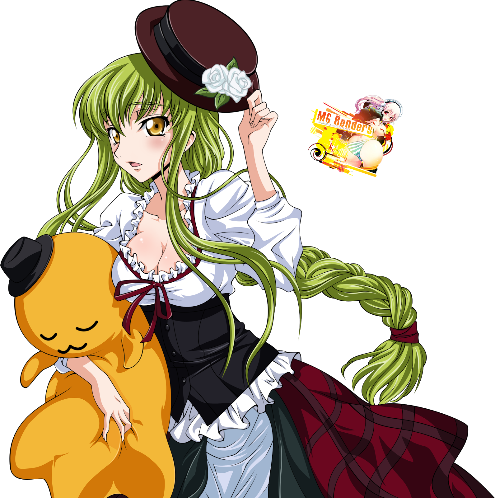 Tags: Anime, Render,  C.C.,  Code Geass,  PNG, Image, Picture
