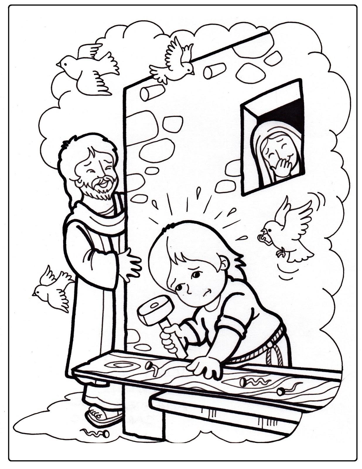 Jesus ayudando a su papa para colorear - Imagui